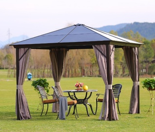 Home4you Sunset Gazebo w/ Plastic Roof 3x3m Brown
