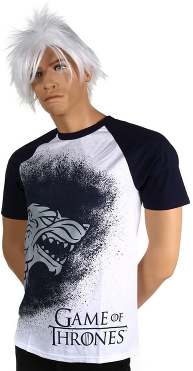 Licenced Game Of Throne Painted Stark Raglan T-Shirt White/Blue S