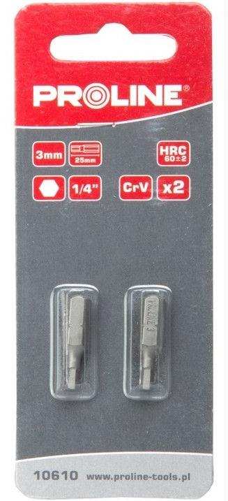 Proline 10610 HEX 3x25mm Bits 1/4'' 2pcs