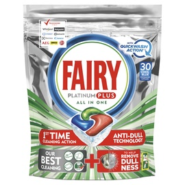 Indaplovių kapsulės Fairy Allin1 Platinum Plus Lemon Quick Wash, 30 vnt.