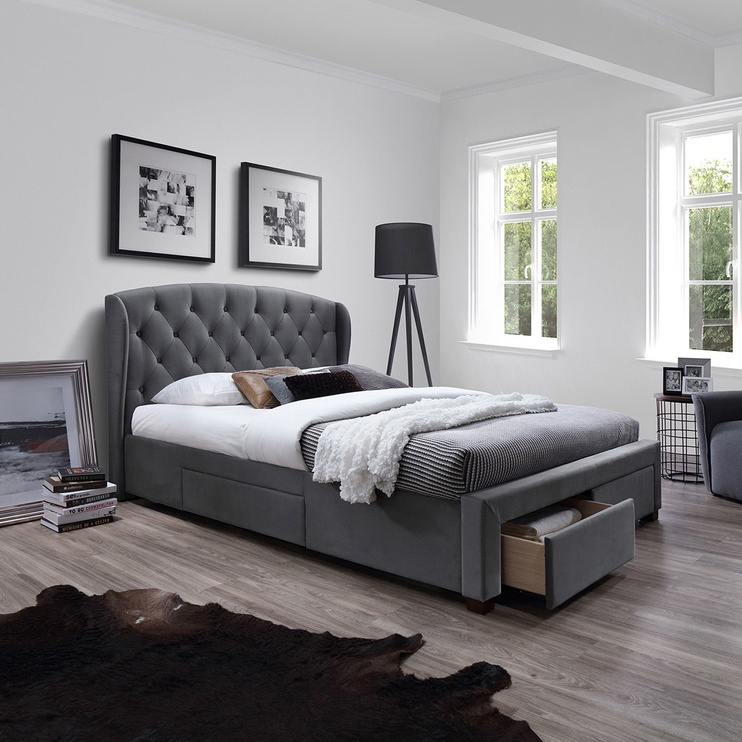 Home4you Louis Bed w/ Mattress Harmony Delux 160x200cm