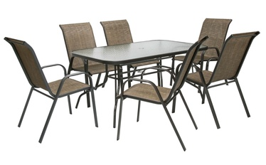 Home4you Dublin Table And 6 Chair Set Golden Brown