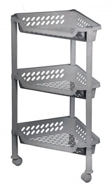 Plast Team Triangular Trolley With 3 Baskets 38.5x26x15/68cm Grey