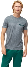 Audimas Mens Merino Wool Short Sleeve T-Shirt Mid Grey Printed L