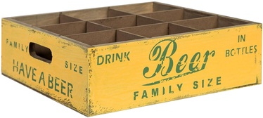 Home4you Wooden Box Jardin 9-Bottle Holder 27x27xH8.5cm Antique Yellow
