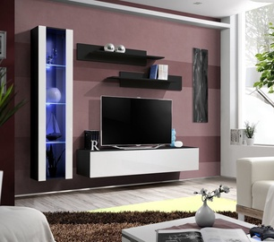 ASM Fly G Living Room Wall Unit Set Vertical Glass Black/White Gloss