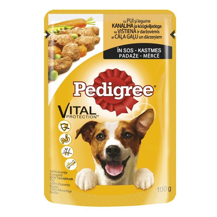 Ėdalas šunims Pedigree su vištiena ir ėriena, 100 g.