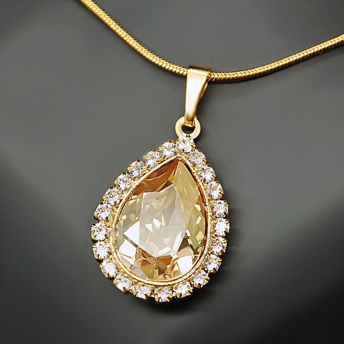 Diamond Sky Pendant Celestial Drop Golden Shadow With Swarovski Crystals