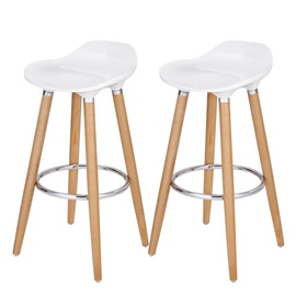 Songmics Wooden Bar Chair White 2pcs