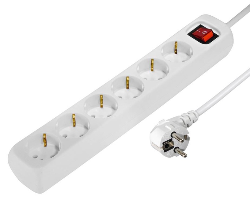 Hama Power Strip 6 Outlet 1.4m White
