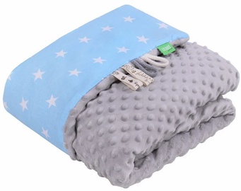 Lulando Minky Baby Blanket Grey/Blue With Stars 80x100cm