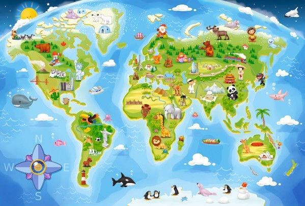 Castorland Puzzle World Map 40pcs Maxi Senukai Lt