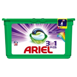 Skalbimo kapsulės Ariel Color 3 in 1, 36 vnt