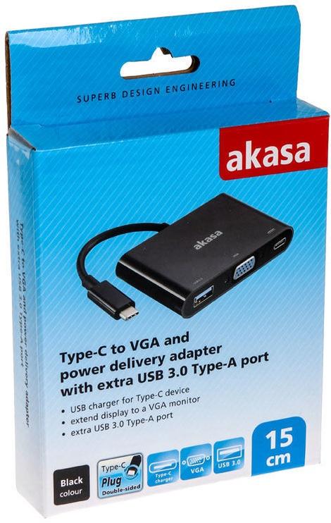 Akasa Type-C To VGA Converter With USB 3.0 Type-A Port 0.15m Black