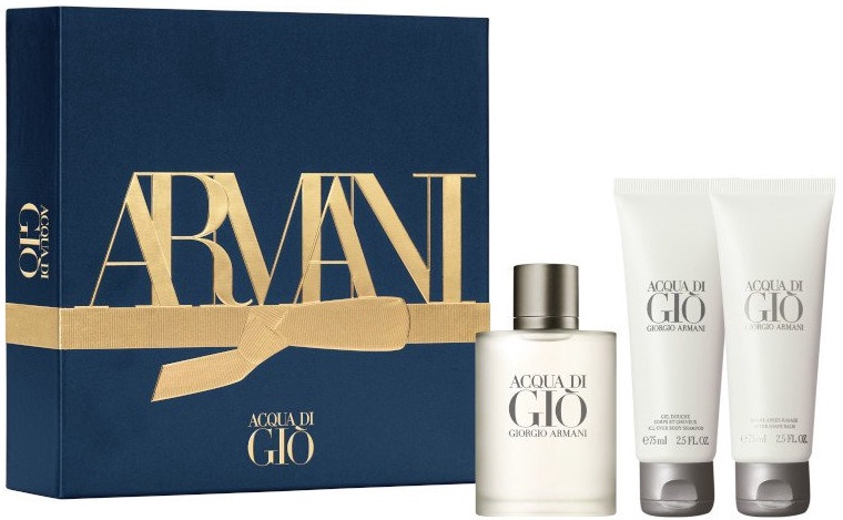 Rinkinys vyrams Giorgio Armani Acqua di Gio Pour Homme 50 ml EDT + 75 ml After Shave Balm + 75 ml Shower Gel