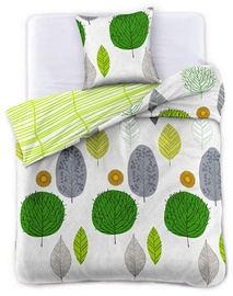 Gultas veļas komplekts DecoKing Green Leaf, 135x200/50x75 cm