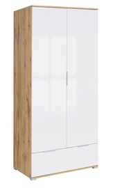 Spinta Black Red White Zele Wotan Oak/White Gloss, 90.5x56.5x195 cm