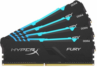 Kingston HyperX Fury Black RGB 64GB 3600MHz CL17 DDR4 KIT OF 4 HX436C17FB3AK4/64