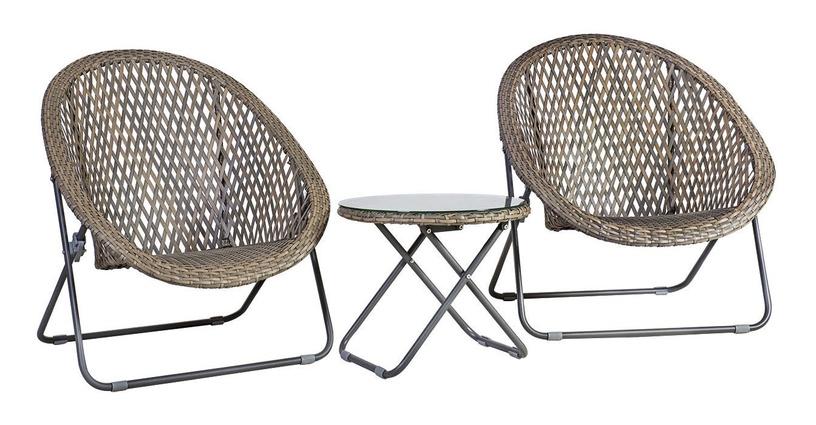Home4you Turku Folding Table And 2 Chairs Set Grey