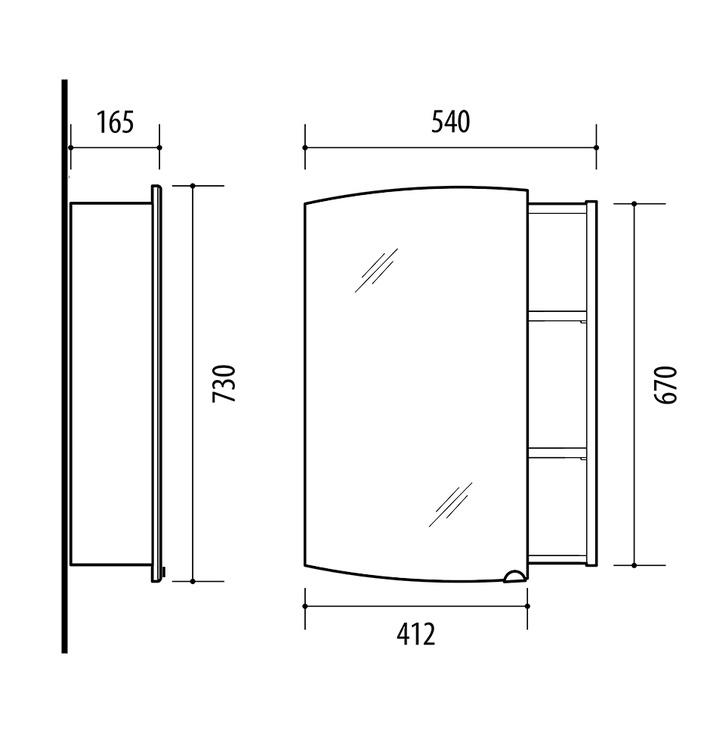 Vonios spintelė su veidrodžiu Riva SV54 Sonoma Oak