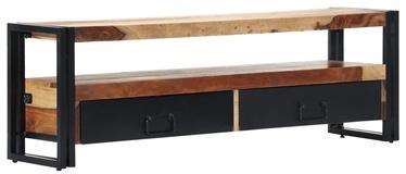 TV galds VLX Solid Sheesham Wood Cabinet, brūna/melna, 1200 mm x 300 mm x 400 mm