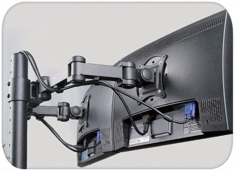 "Televizoriaus laikiklis Techly 13""-27"" Desk Stand for 2 Monitors w/Clamp"