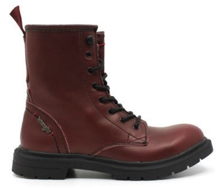 Wrangler Spike Mid Leather Winter Boots Burgundy Red 36