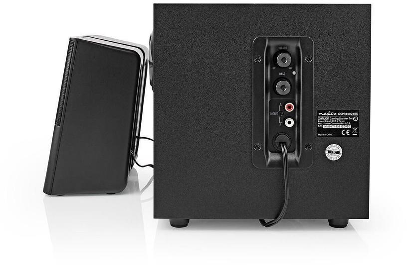 Nedis Gaming Speakers 2.1 GSPR10021BK