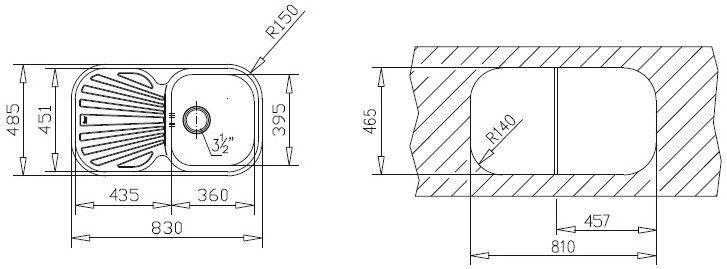 Раковина Teka Stylo 1B.1D CN, 830 мм x 485 мм x 170 мм
