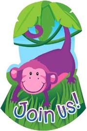 Amscan Jungle Animals Folded Invitations 499148