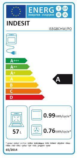 Gāzes plīts ar elektrisko krāsni Indesit IS5G8CHW/PO