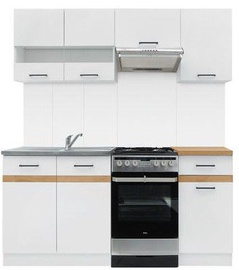 Virtuvės baldų komplektas Black Red White Junona White/Sonoma Oak, 1.7 m