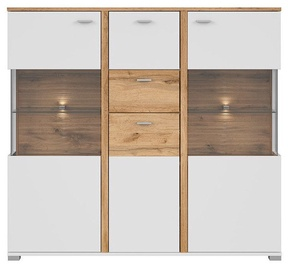 Black Red White Alamo Glass Cabinet KOM2W1D2S Wotan Oak/White