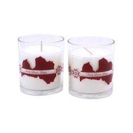 Svece stikla traukā ar apdruku, 74x83 mm