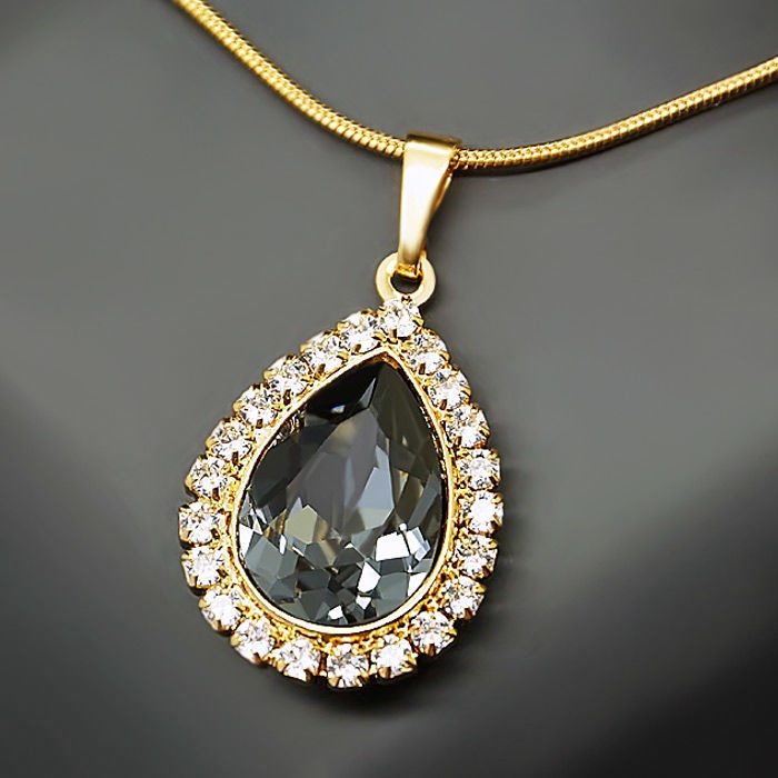 Diamond Sky Pendant Celestial Drop Silver Night With Swarovski Crystals