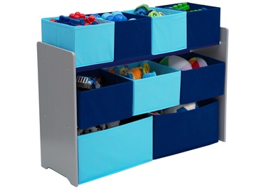 Delta Children Deluxe Multi Bin Toy Organizer With Storage Bins Blue/Grey