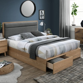 Home4you Blossom Bed 160x200 Dark Grey/Oak