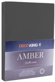 Простыня DecoKing Amber Dark Grey, 240x200 см, на резинке
