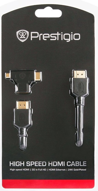 Prestigio HDMI/Micro HDMI/Mini HDMI Gold Platted Cable Set 1.8m Black