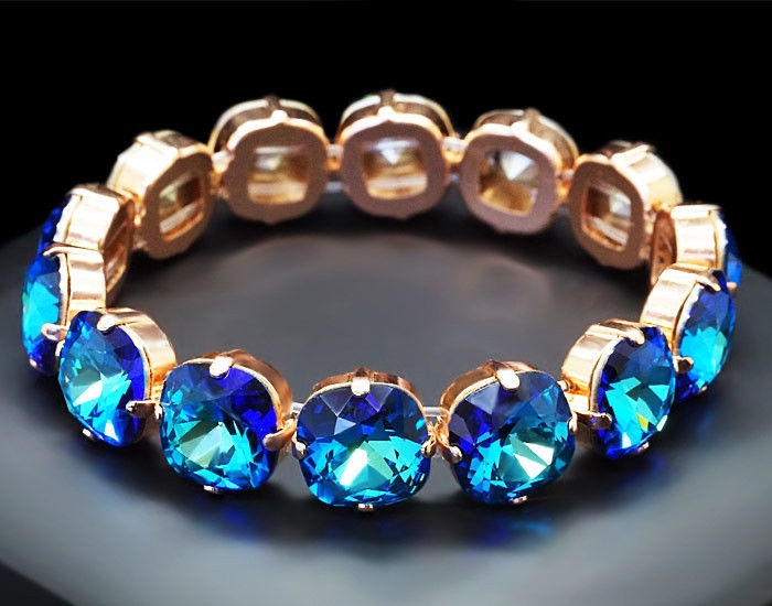 Diamond Sky Bracelet Glare Bermuda Blue With Crystals From Swarovski