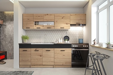 Кухонный гарнитур Halmar ALINA 2.4m Artisan Oak/Black Matt