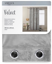 Öökardin AmeliaHome Velvet, hõbe, 1400x2450 mm