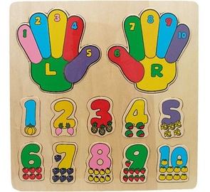 Brimarex Wooden Puzzle Hands And Numbers 12pcs 4431
