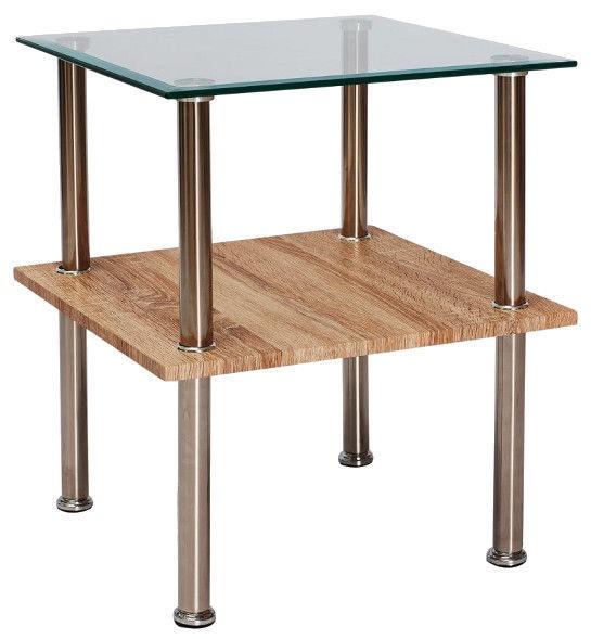 Kafijas galdiņš Signal Meble Ana Sonoma Oak/Chromed Metal, 500x500x550 mm