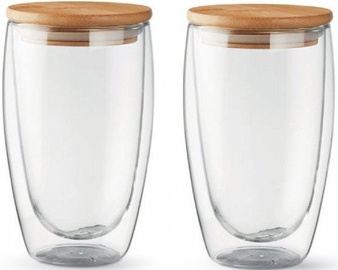 Double-Walled Glass Set With Lids L19012 450ml 2pcs