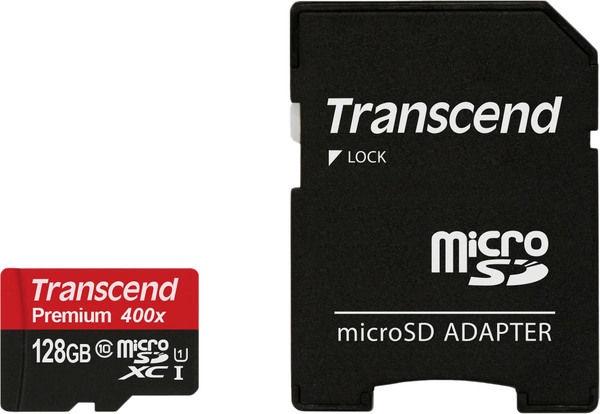 Transcend 128GB Micro SDXC Premium UHS-I Class 10 + SD Adapter