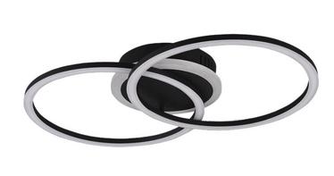 Trio Venida matinės juodos spalvos lubinis LED šviestuvas, 25W, 2600lm, 3000K, trijų pakopų jungiklio pritemdymo funkcija
