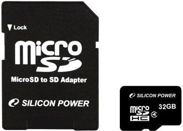 Silicon Power 32GB  MicroSDHC  CLASS 4 + SD Adapter