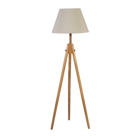 Home4you Ringo Wood Floor Lamp E27 White