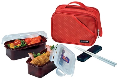 Lock&Lock Food Bag With 2 Containers 510ml And Bottle/Red